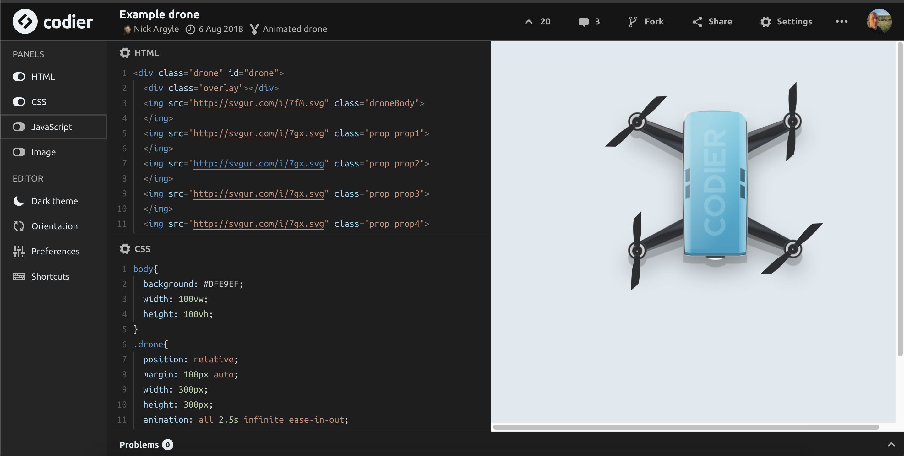 Screenshot of drone code page