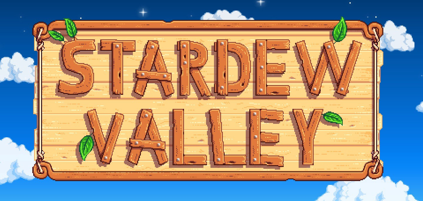"A wooden sign on a starry sky background that reads, ""Stardew Valley"" in plain wooden planks."