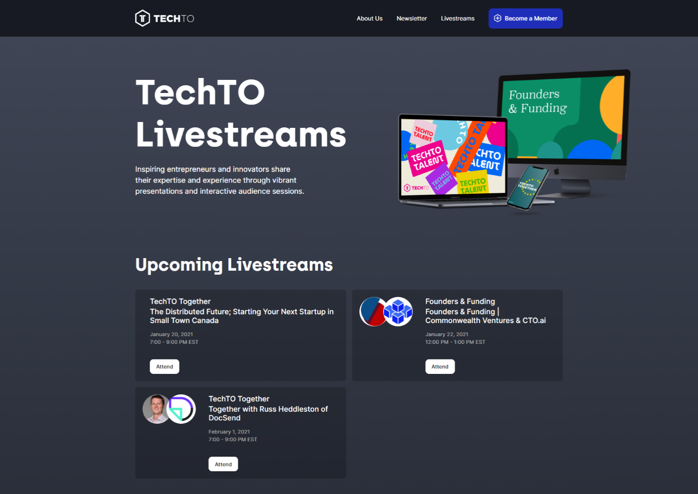 """Screenshot of the new website's """"Livestreams"""" page."""