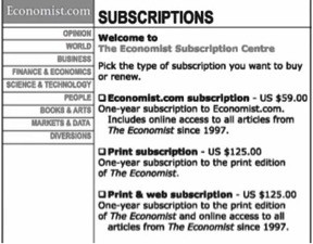 Ad from The Economist featuring subscription prices