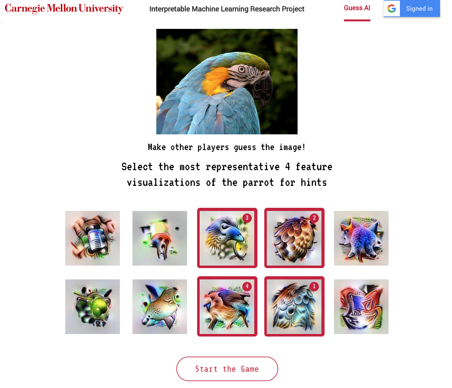 An image of a parrot. 10 visualizations of parrot features are shown and player selects top 4 to start the game.