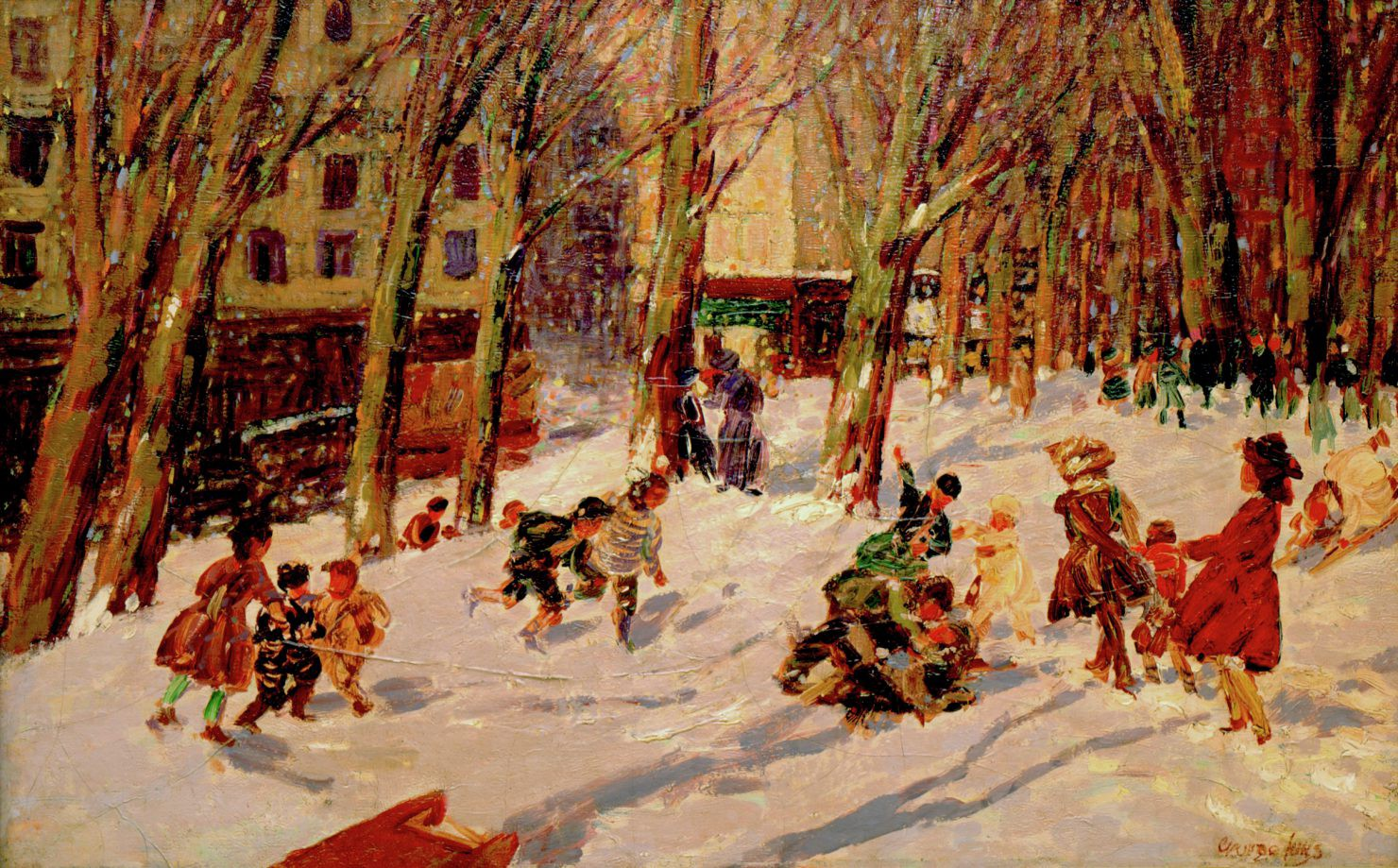 Painting of people playing in the snow in the late afternoon in an urban setting with leafless trees.