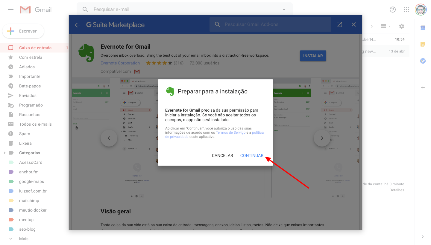 Configuring the Evernote extension for Gmail - Google