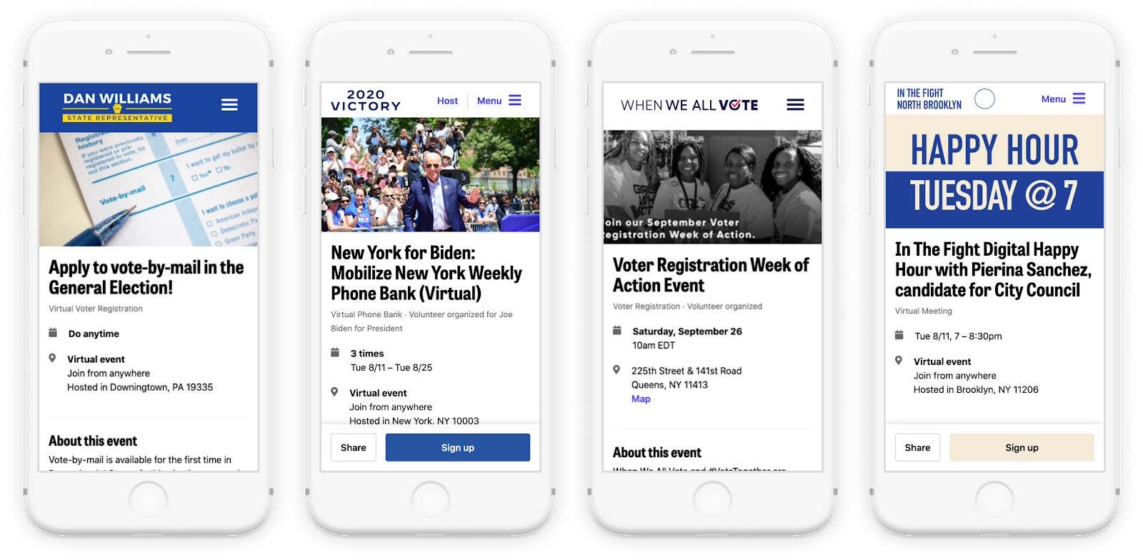 A couple different organization event pages that all are using Mobilize.