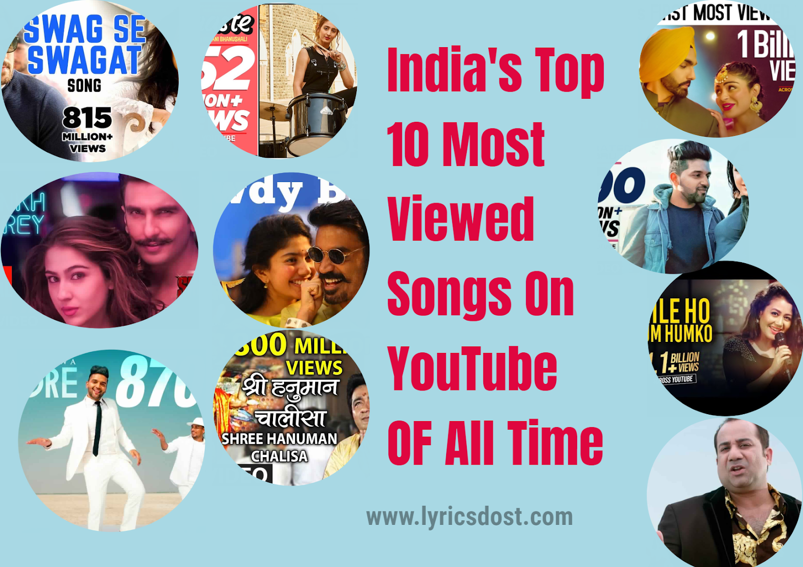 Top 10 Most Viewed Indian Songs On Youtube Top 10 Updated List 2020 By Lyricsdost Com Medium