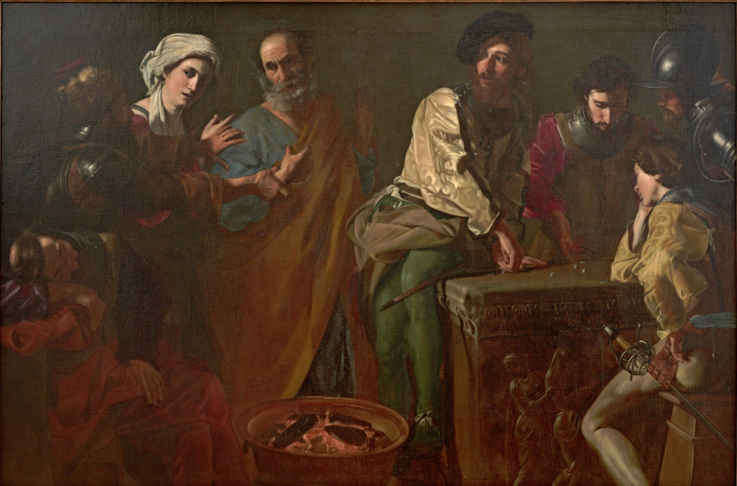 Painting with dramatic lighting that depicts the denial of St. Peter.