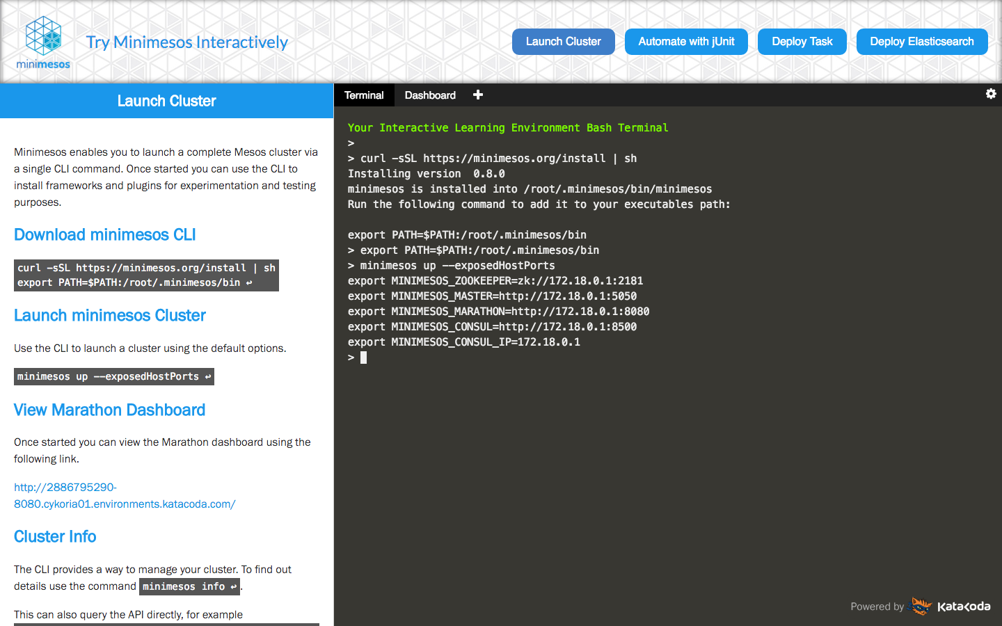 Creating an interactive learning environment for minimesos
