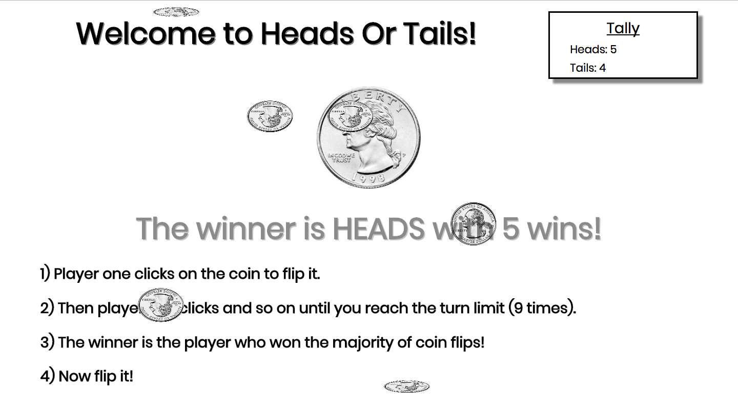 Coin Flip Web App Made using JavaScript, HTML and CSS animations