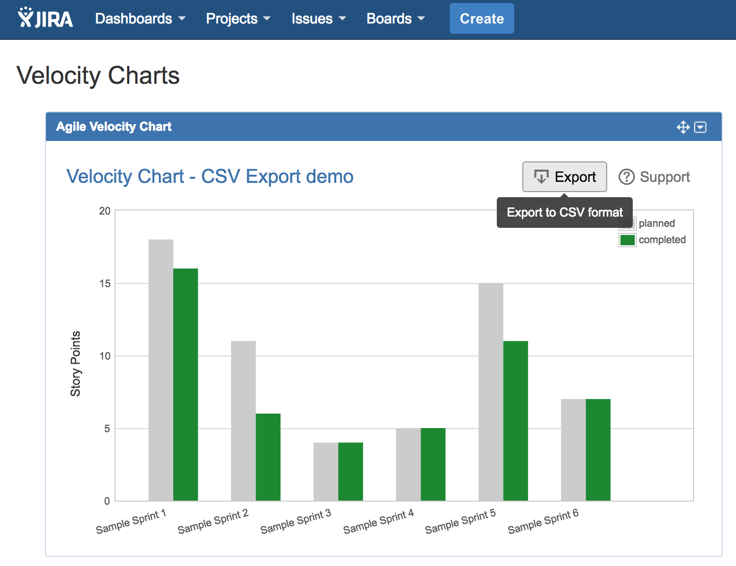 Velocity Chart Gadget for Jira — export data to Excel