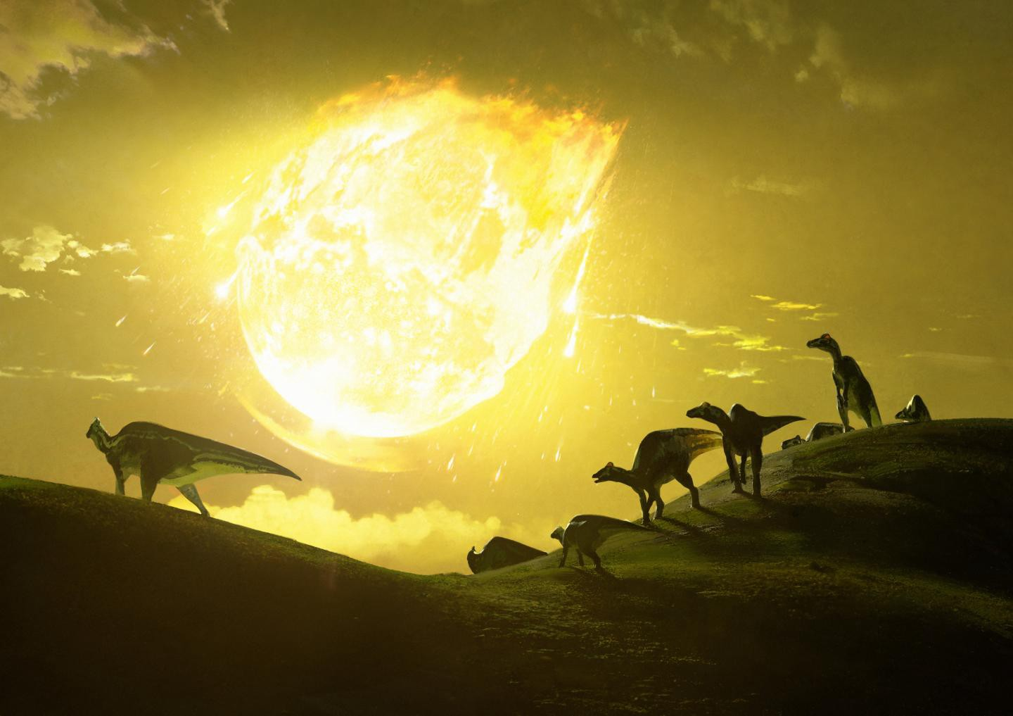 Dinosaurs watch as a massive asteroid burns up on its way to a fateful impact with Earth.