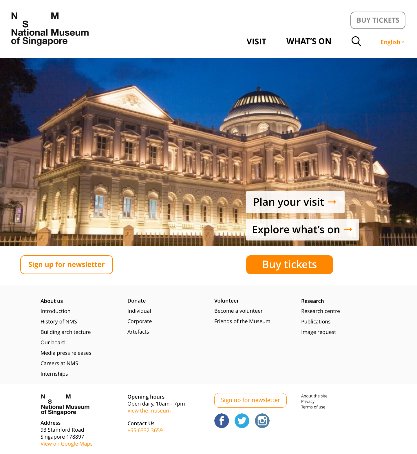 Mobile-first website redesign for Singapore's oldest museum