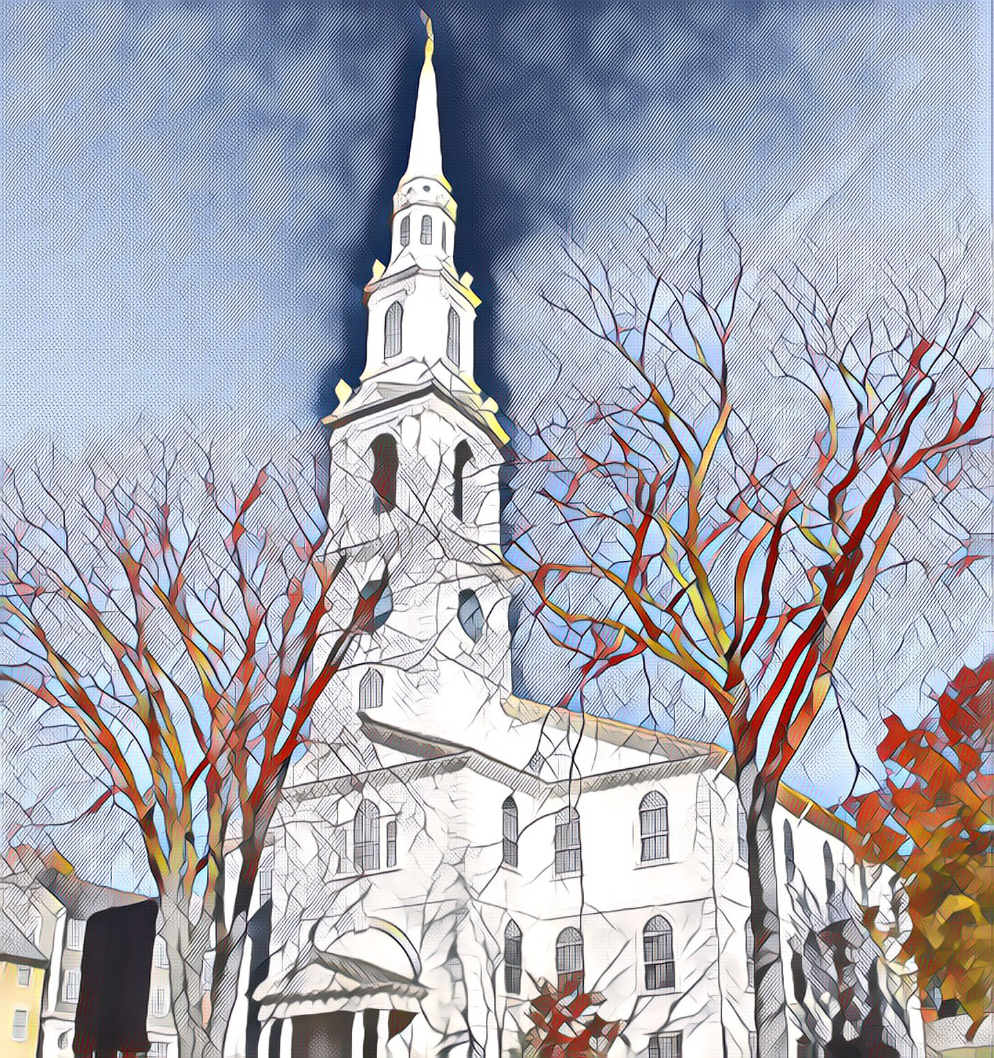 Stylized image of the First Baptist Church in America in Providence, Rhode Island