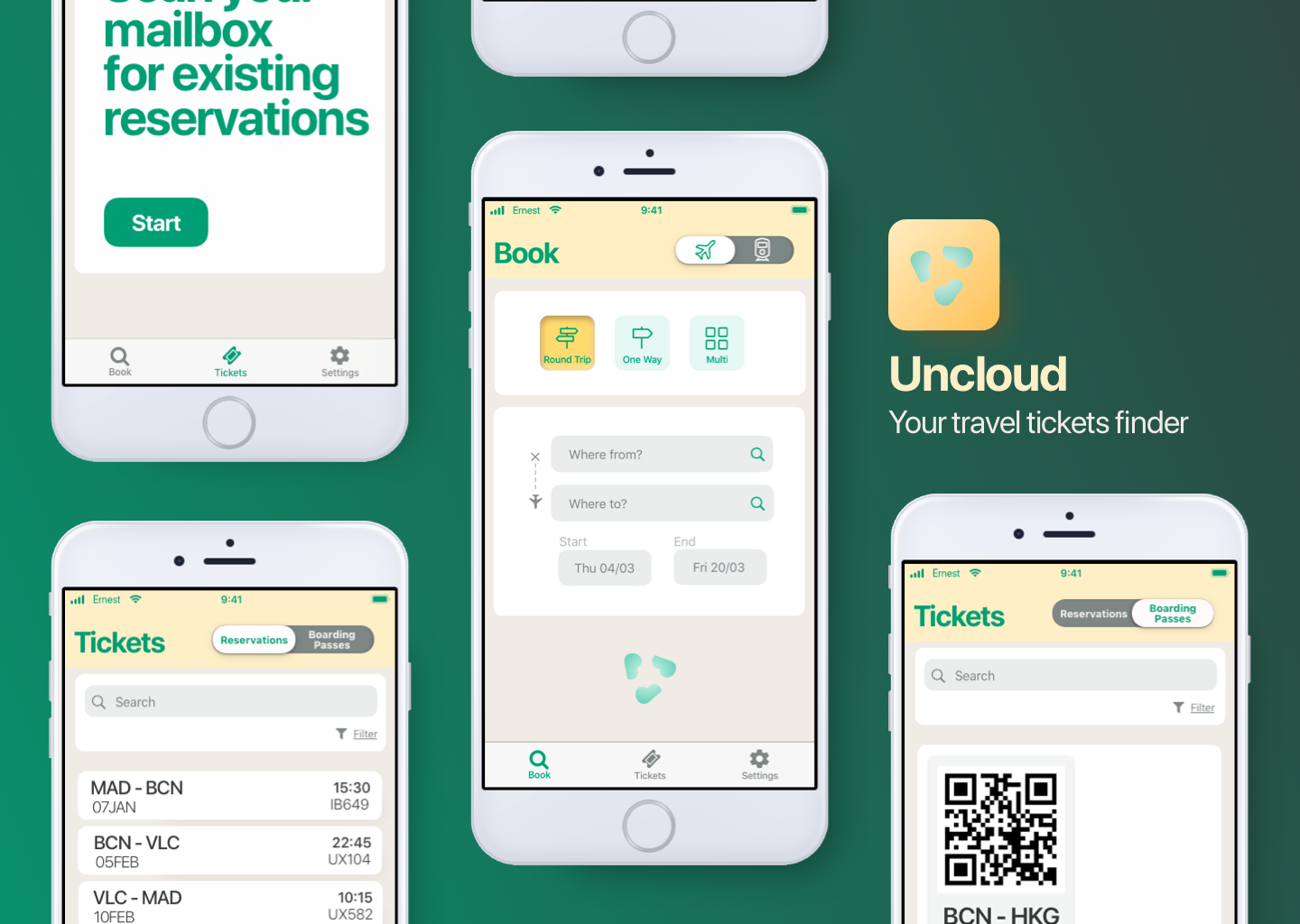 Poster with four app screens and app logo