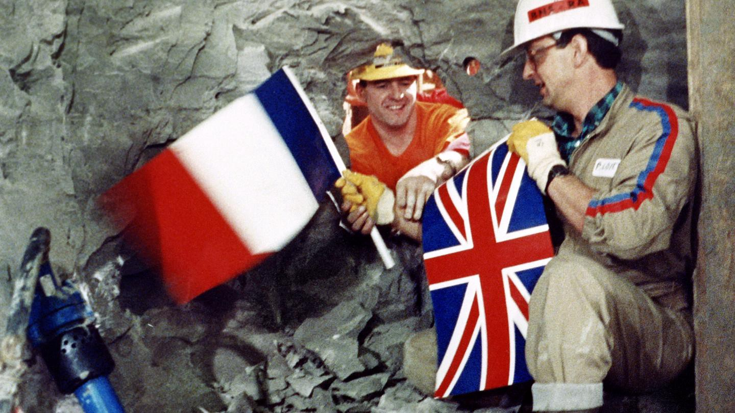 GB and France meet at the middle when drilling the Channel Tunnel