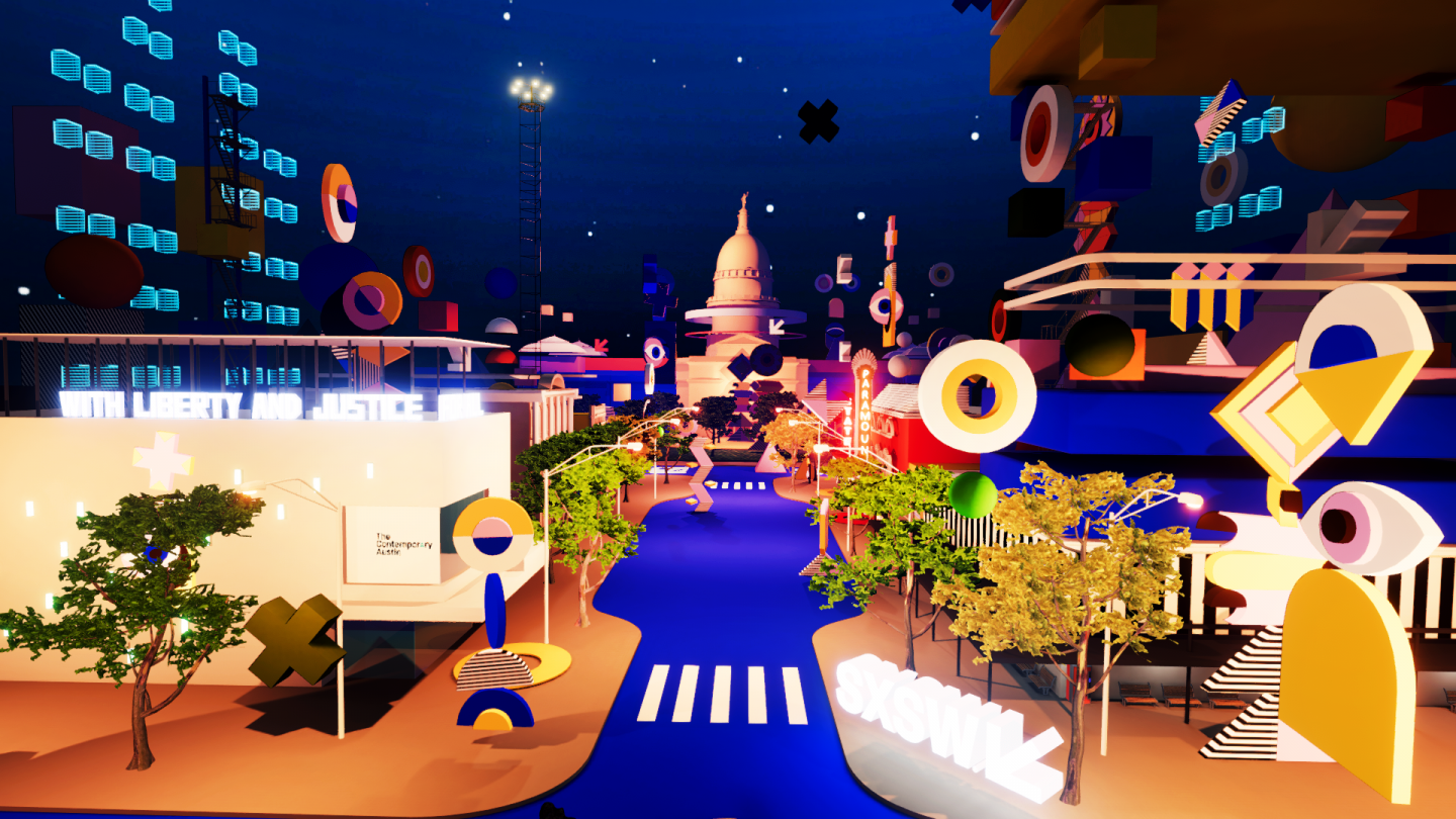The virtual main street of SXSW — flashing lights, flying cars and floating objects everywhere.
