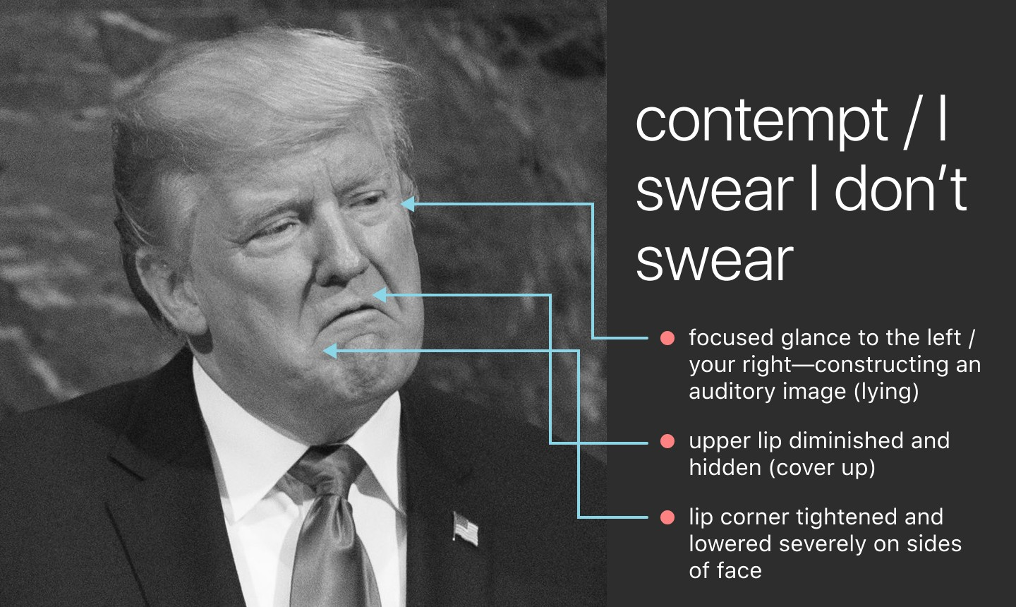 Donald Trump's face. Lines drawn to show: • focused glance to left (lying) • upper lip diminished (cover up)