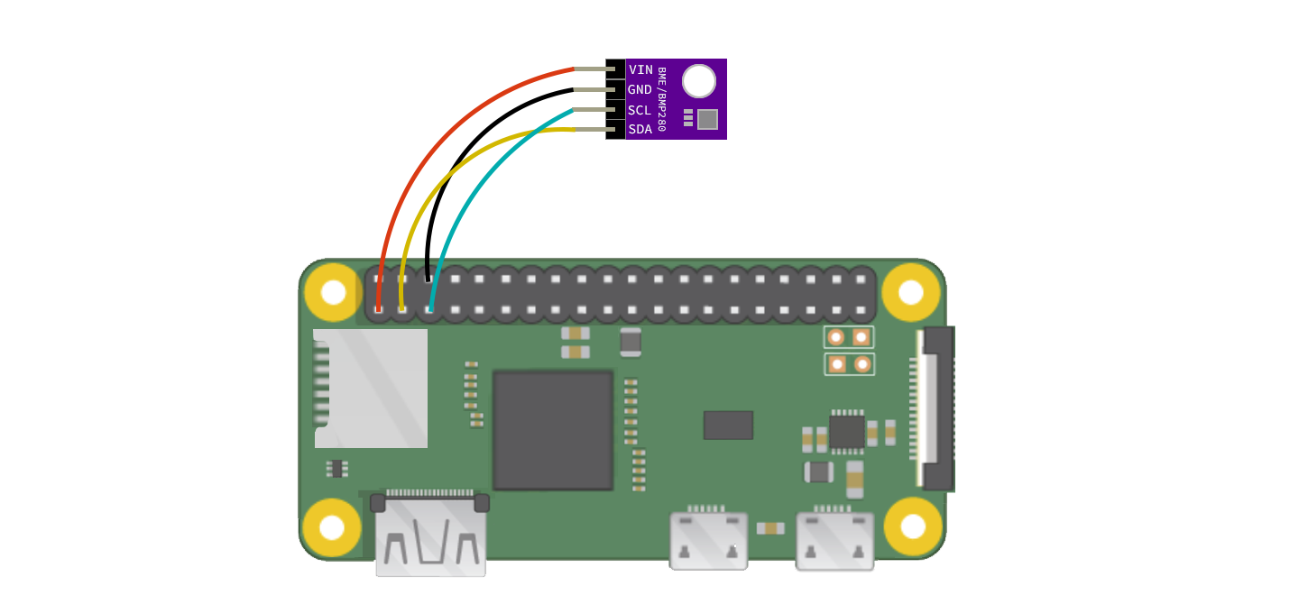 Raspberry Pi Zero wiring for a BME280 temperature and humidity sensor
