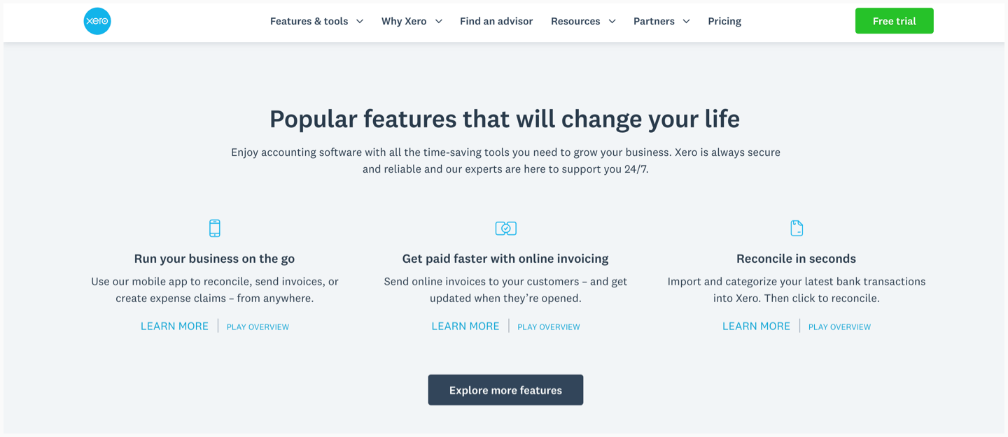 Xero's website with a list of features and secondary CTAs.