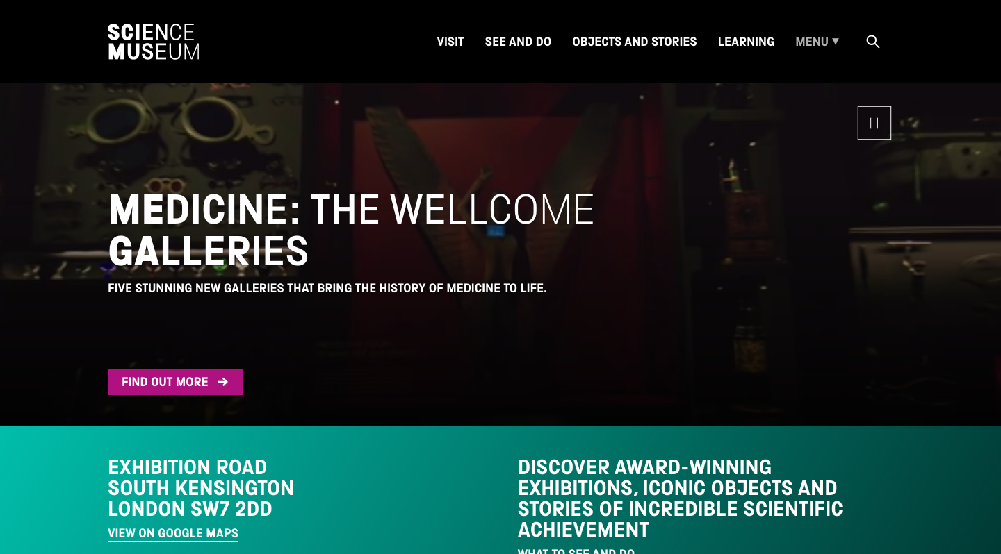The Science Museum homepage