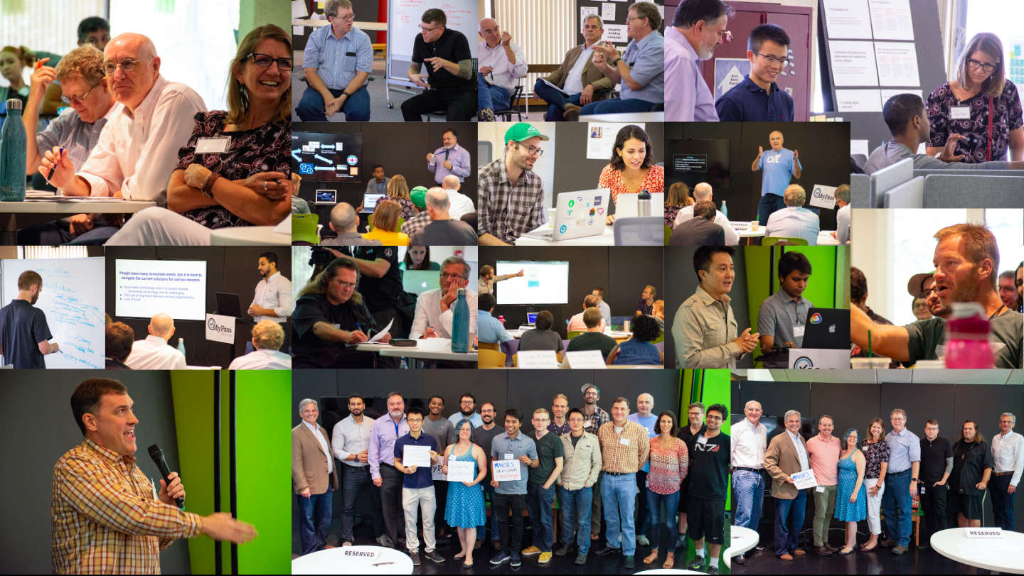 A collage of photos from a hackathon—judges debeating, teams prototyping, presenters pitching, and winning team photos.