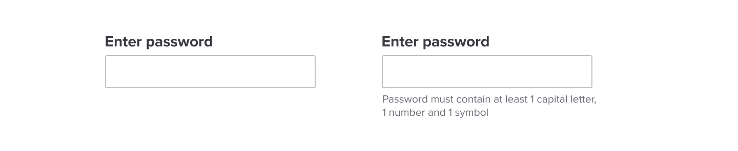 showing ease of use as no restriction to enter password vs showing security as restriction to enter strong password