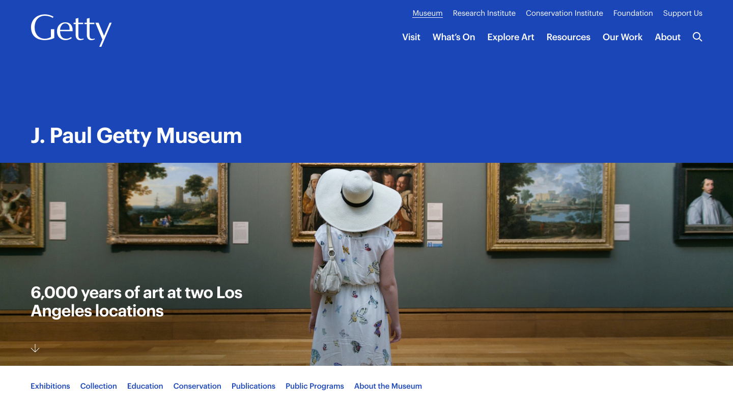 Getty Museum homepage