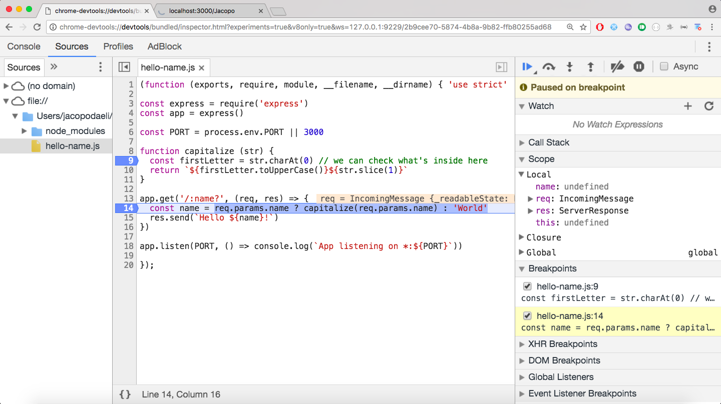 Debugging Node js with Google Chrome - Node js Collection