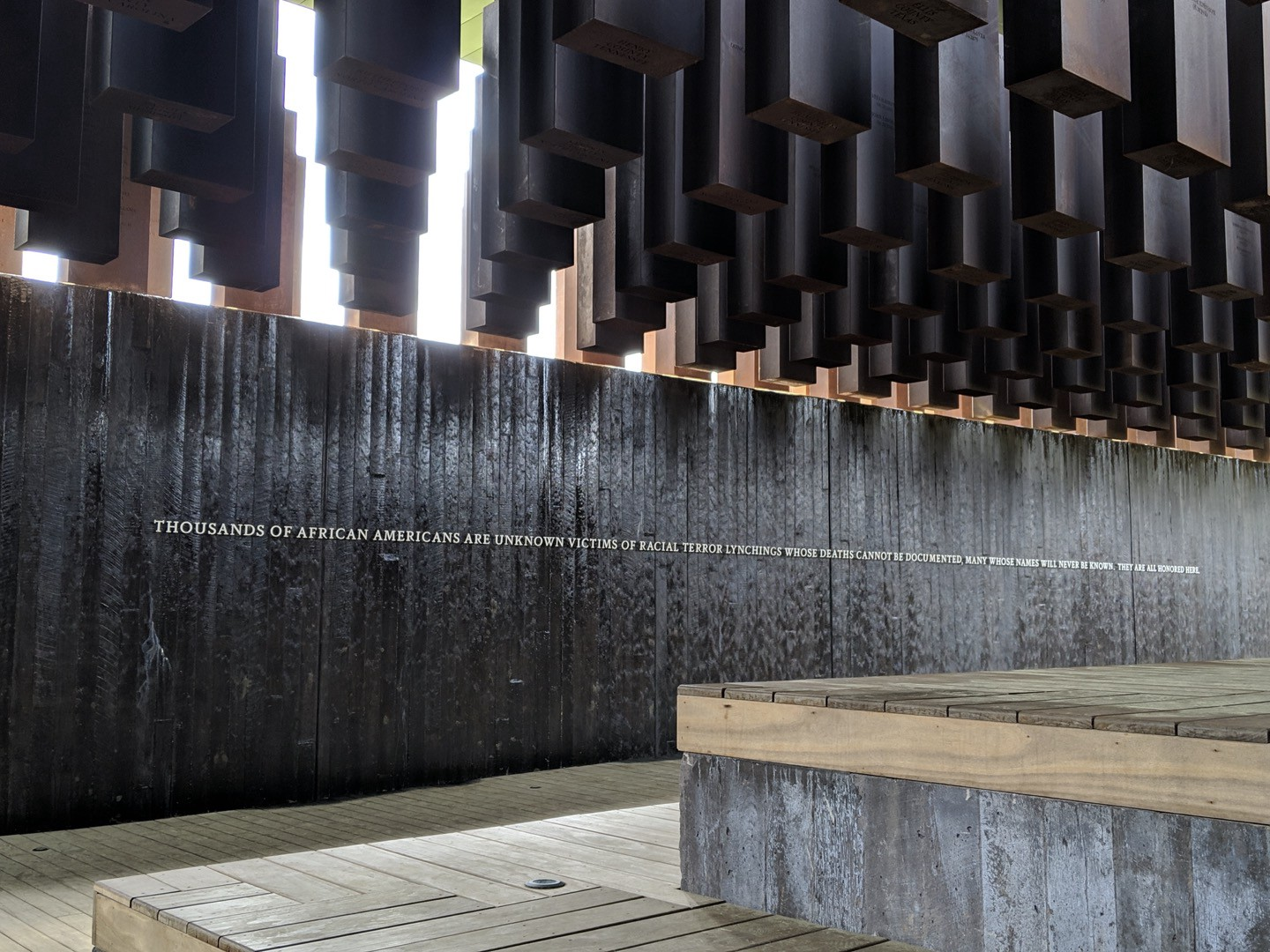 The National Memorial for Peace and Justice honors known and unknown African American victims of racial terror lynching.
