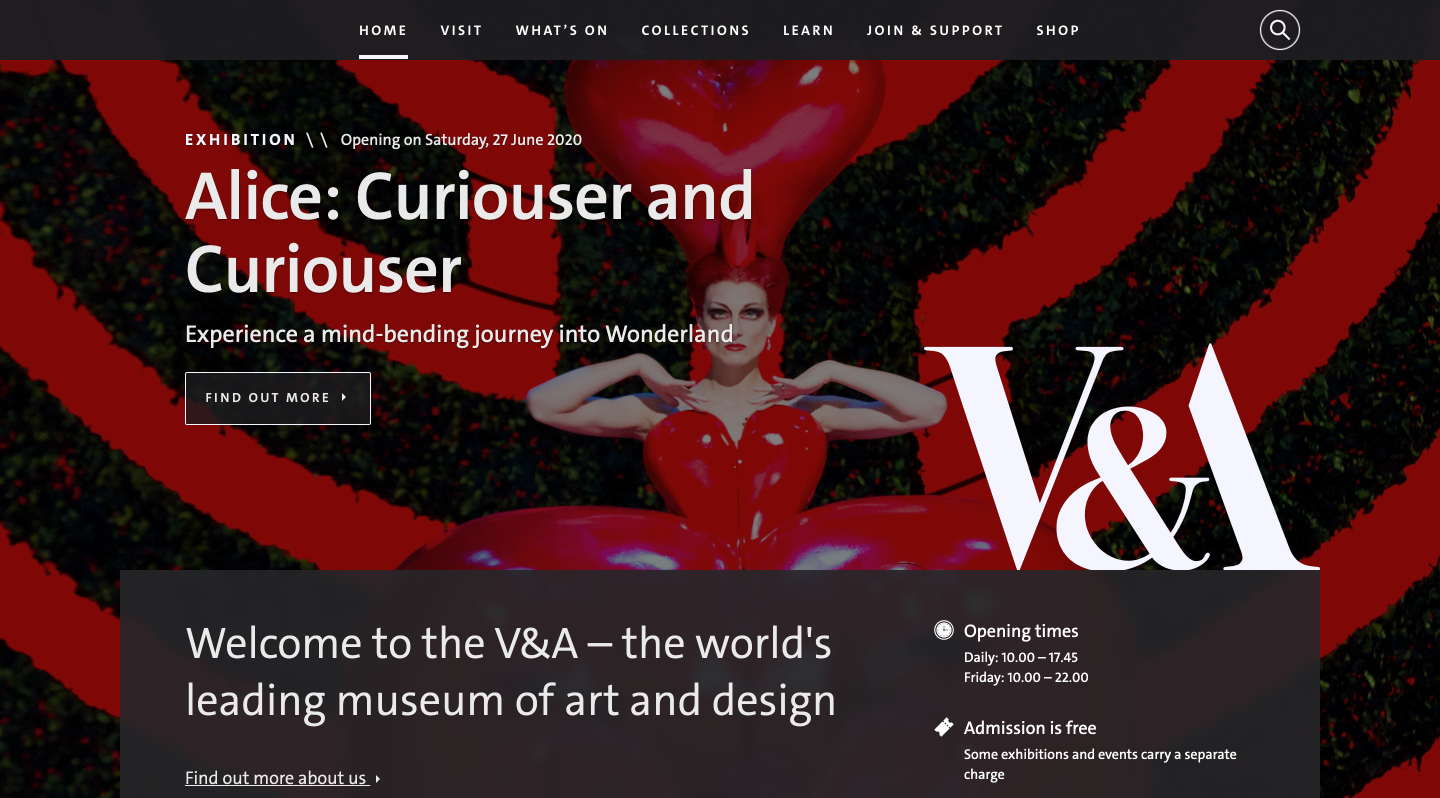 The V&A's homepage