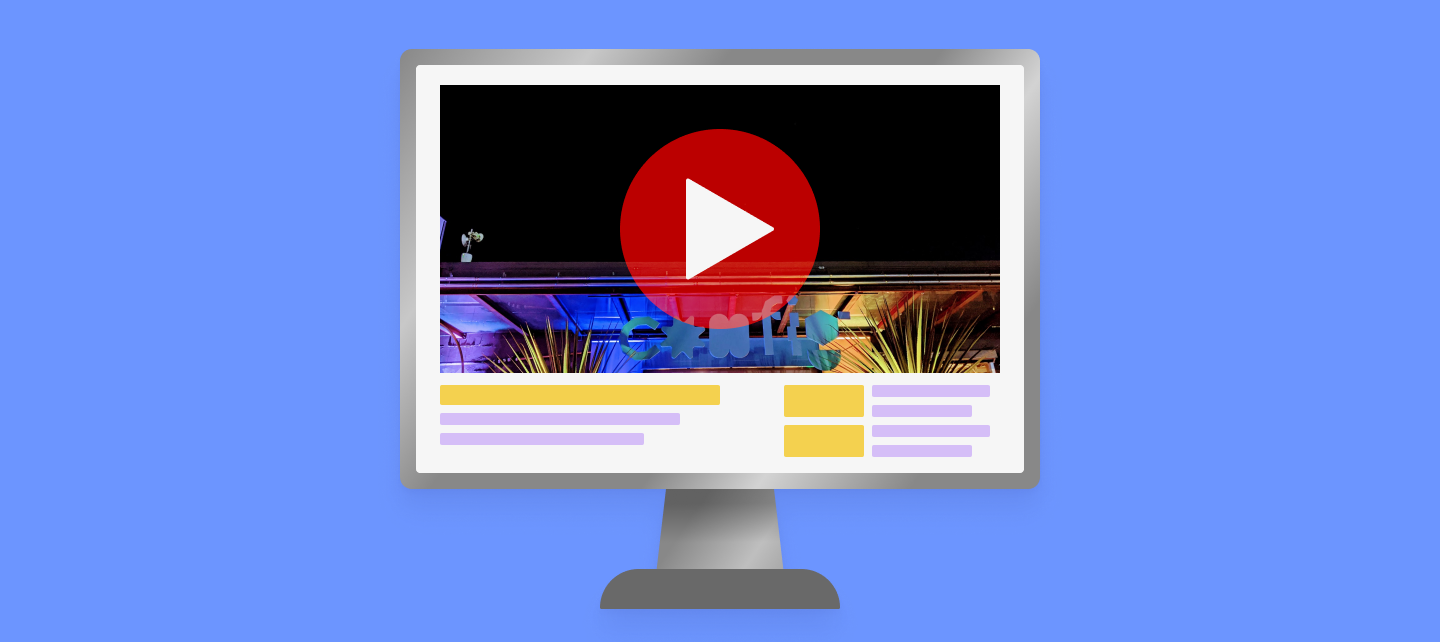 Graphic illustration of a YouTube video mockup