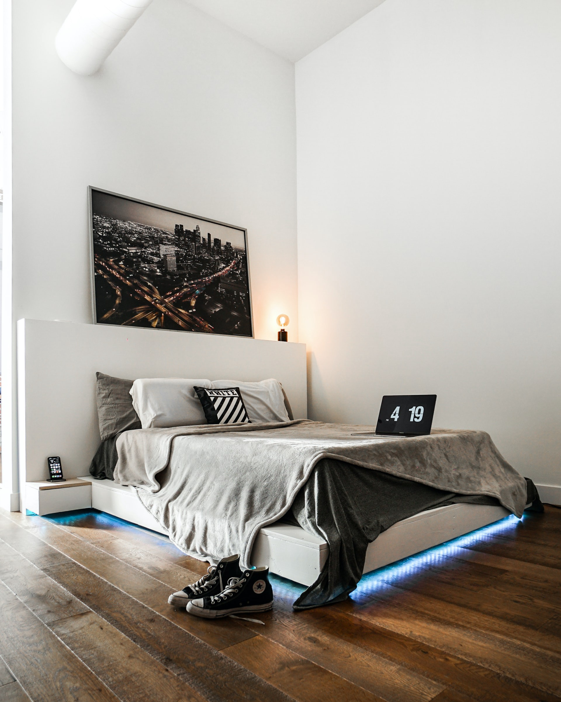 Ultra modern double bed with LED lights beneath it