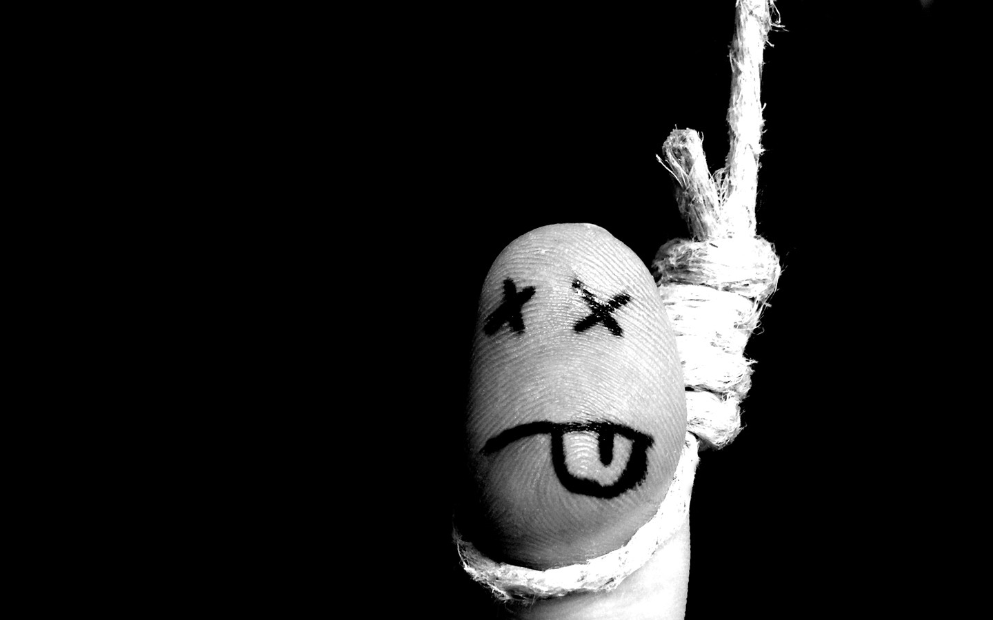 """""""CMS—you're dead to me"""" finger with face wrapped with string  noose image"""