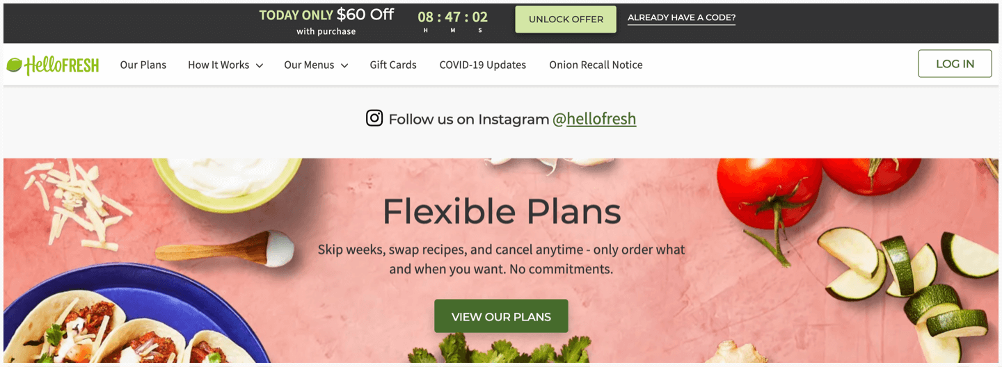 HelloFresh's website and the CTAs that appear at the bottom of the page.