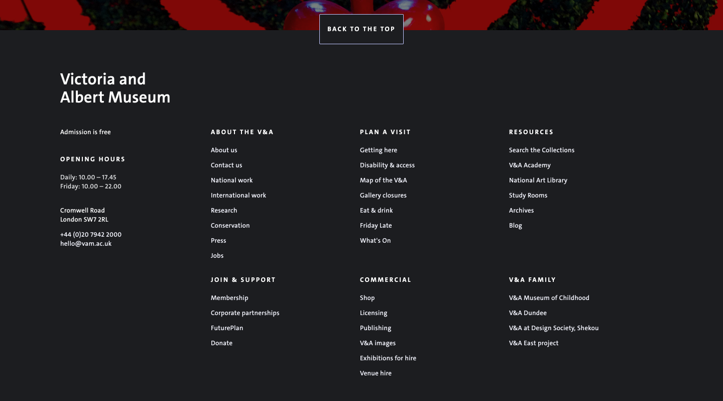The V&A's footer