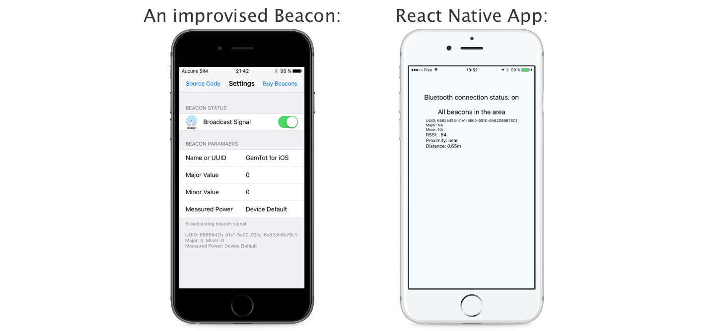 How to play with iBeacons in a React Native application