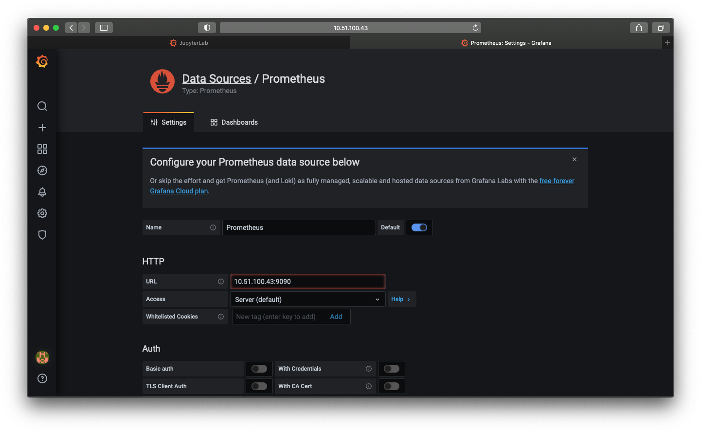 A screenshot of the Grafana add Prometheus source page with the IP address filled in.