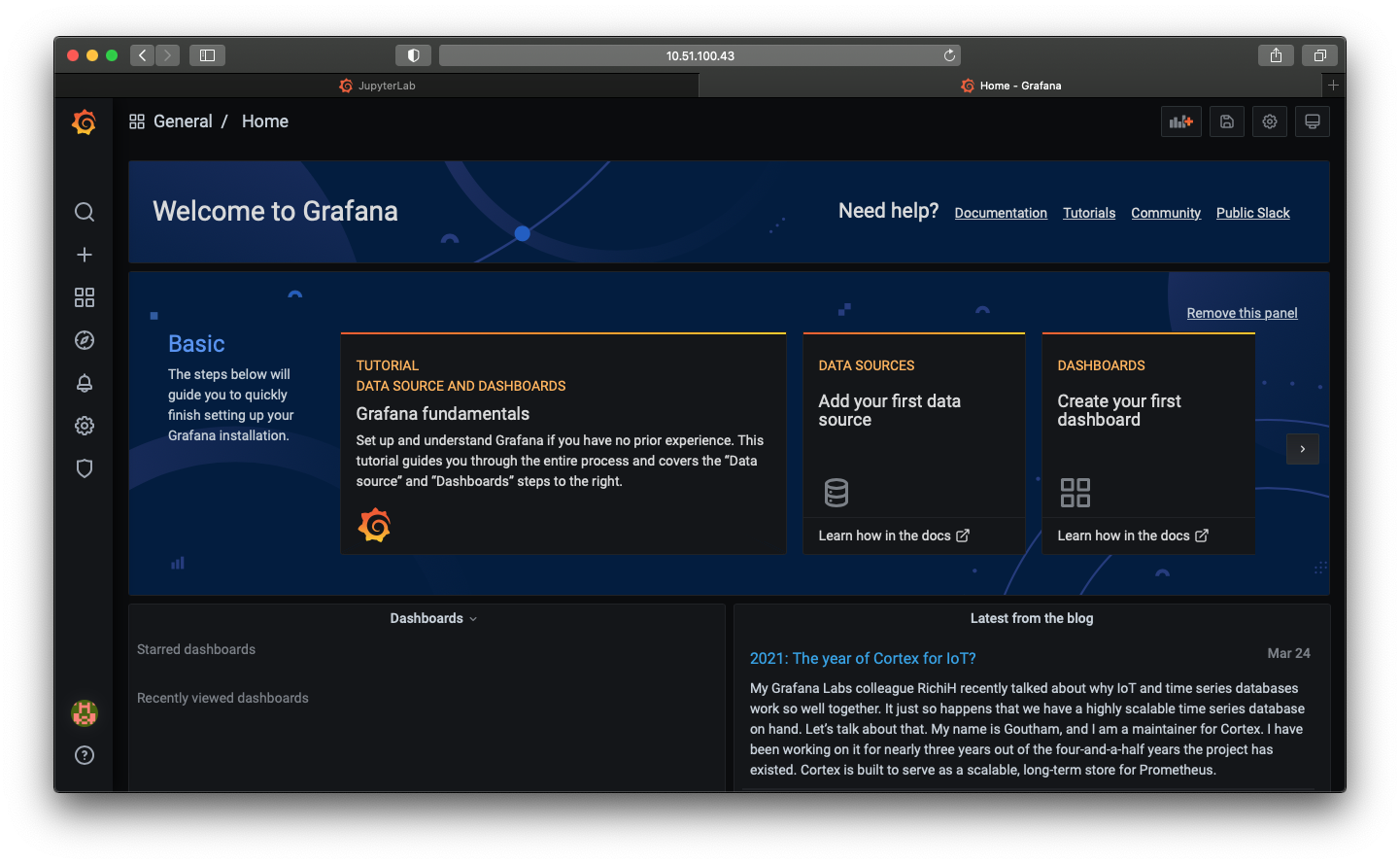 A screenshot of the Grafana Dashboard home page with the first time setup flow visible.