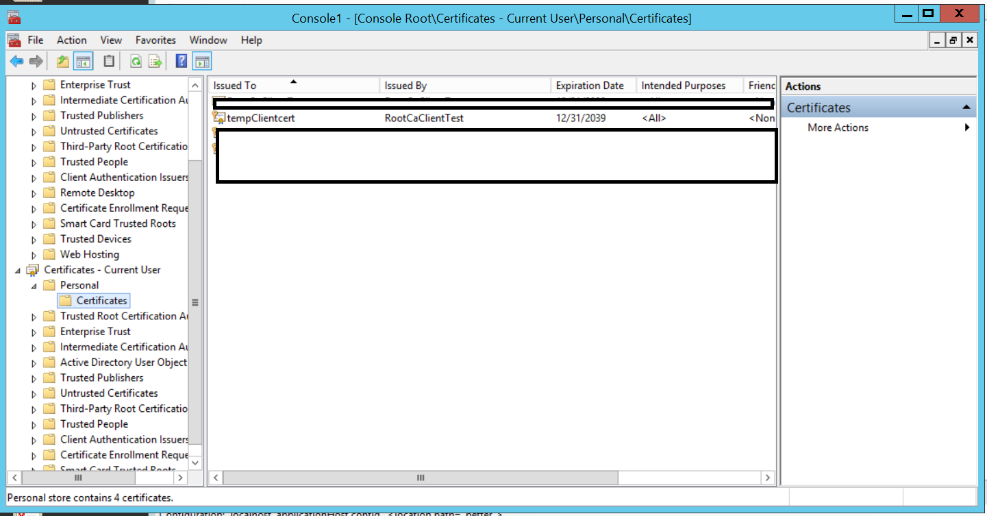 Configuring client certificates for mutual authentication on