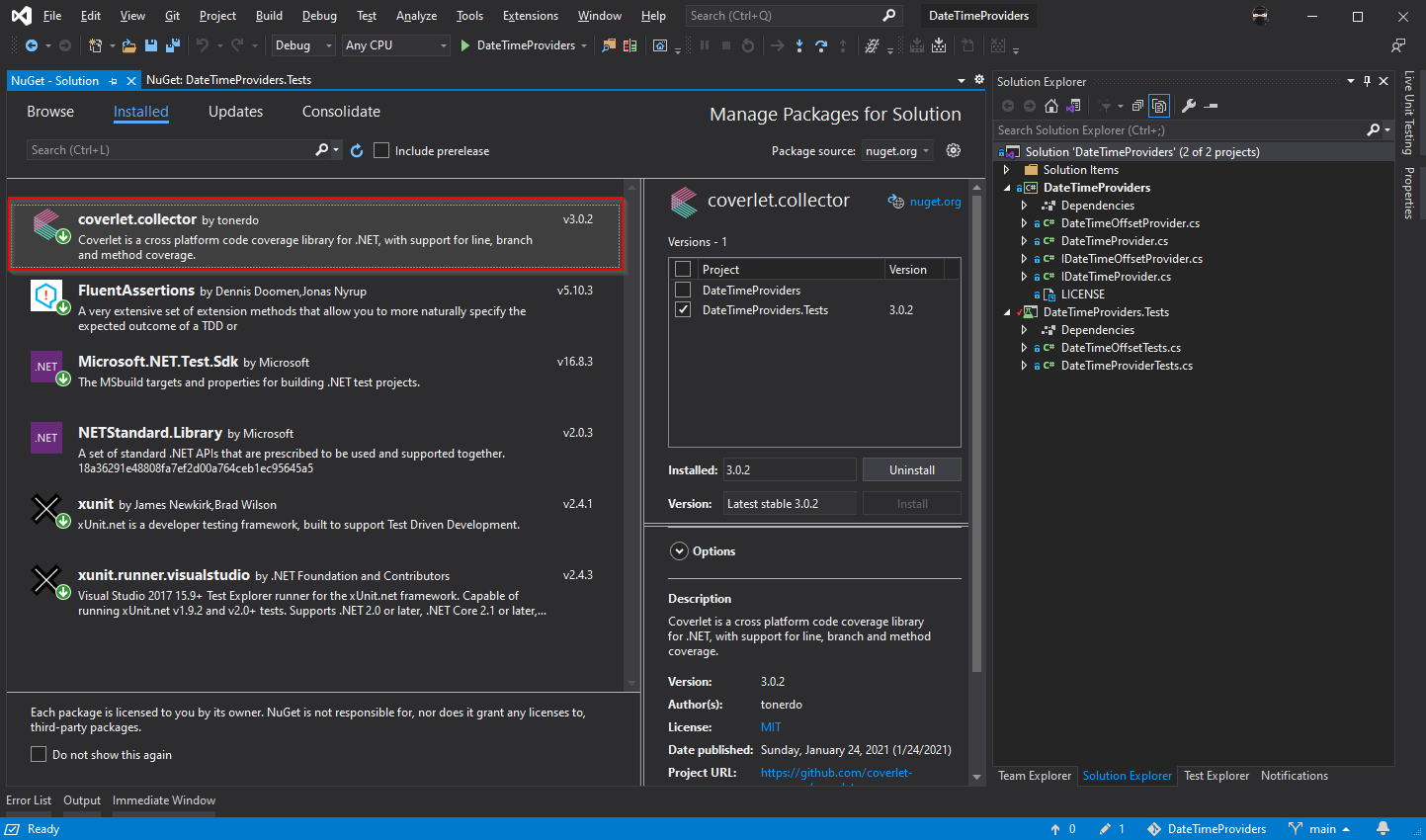 Visual Studio with the Coverlet.Collector nuget package added to unit test projects