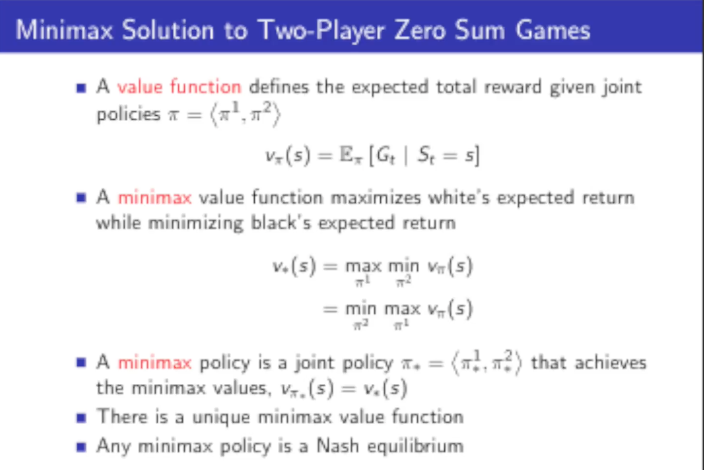 """Notes for """"Classic Games Case Study"""" by David Silver"""
