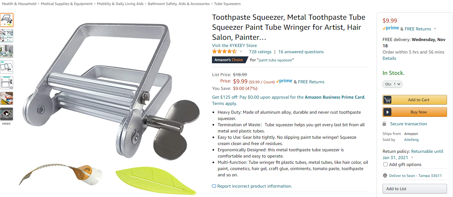 A toothpaste squeezer sold on amazon.