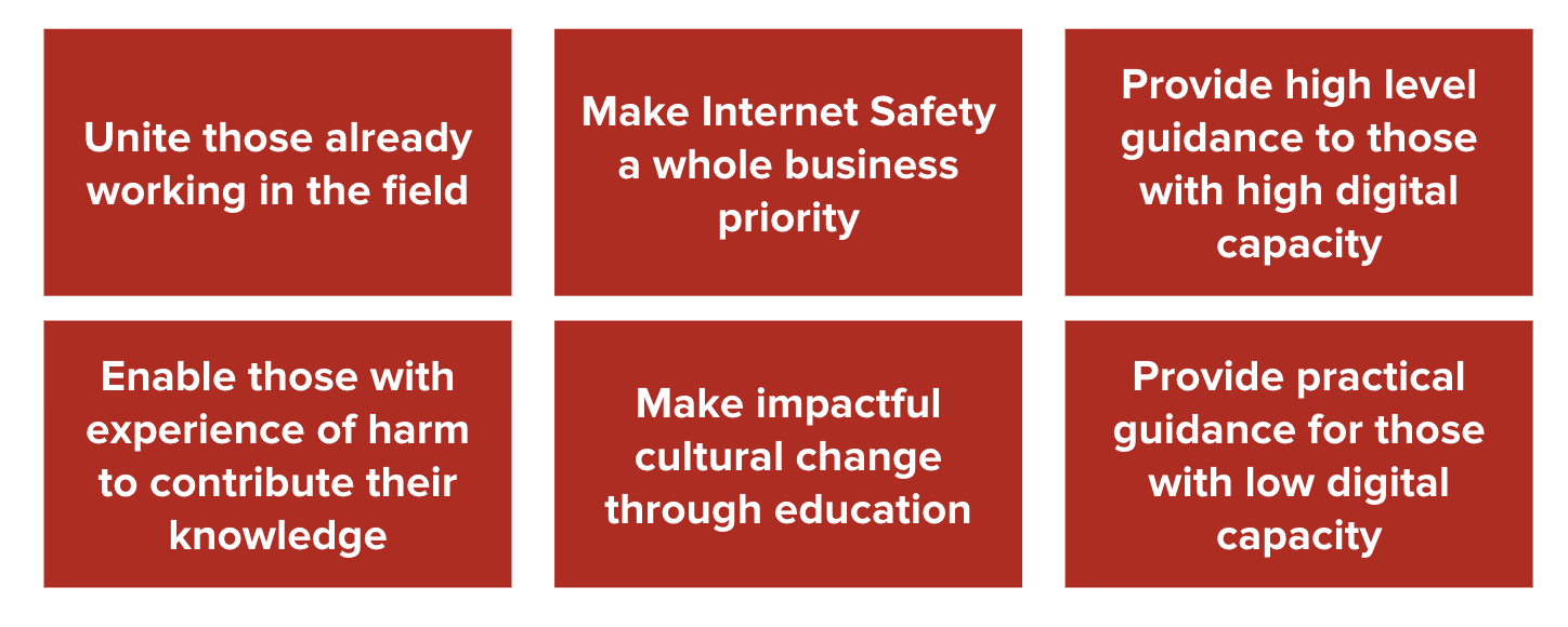 An image of a table showing the strategy for uniting a user-centred safety by design network—as listed below