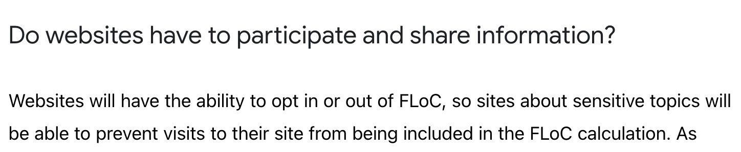 """Screenshot from web.dev about the FLoC trial, """"websites will have the ability to opt in or out of FLoC""""."""