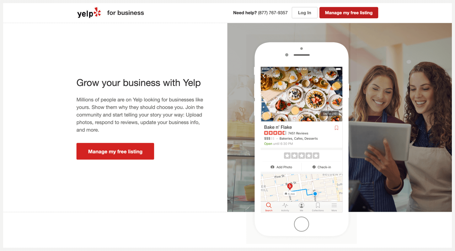 Yelp for Businesses' sign-up page.