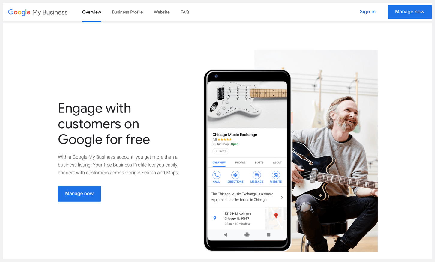 Google My Business' sign-up page.