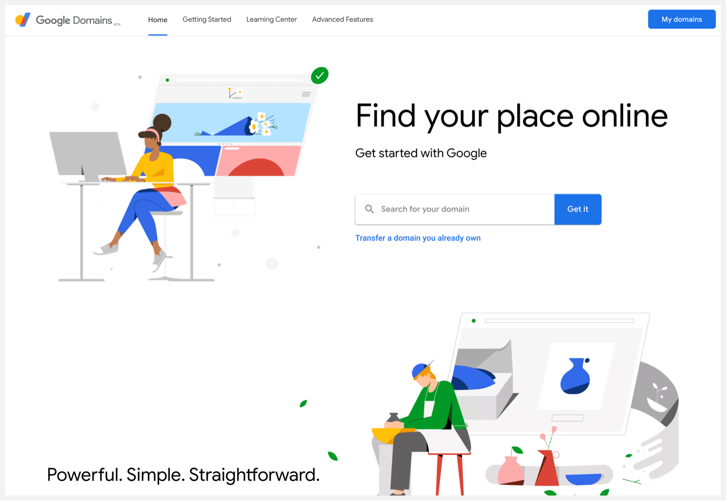 The sign up page for Google Domains.
