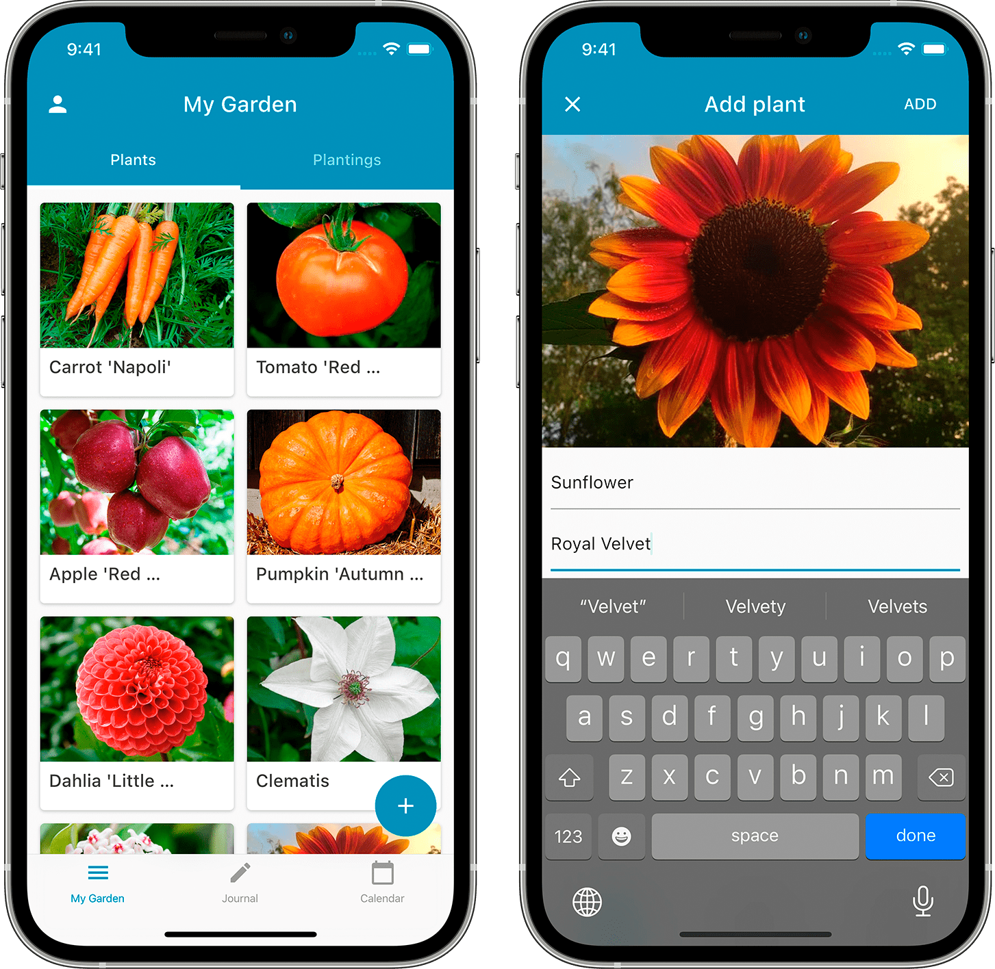 The plants screen of Leafarise mobile app for gardeners