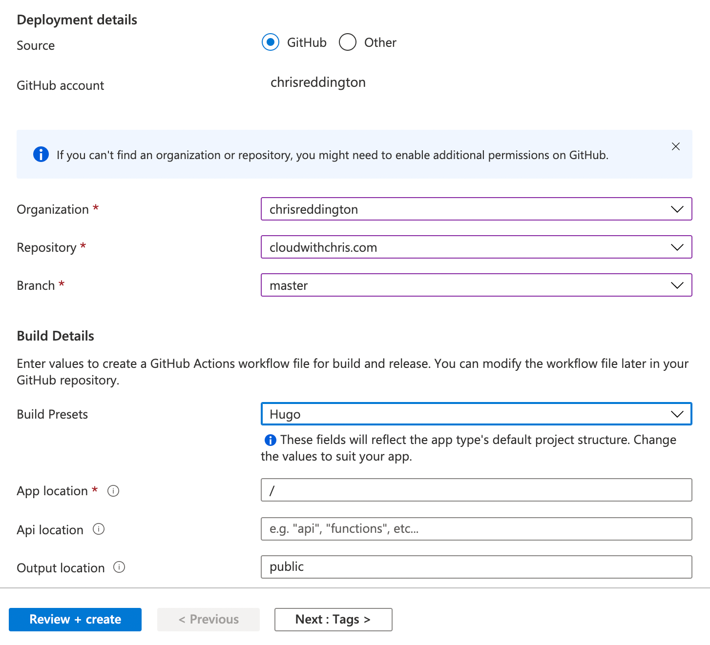 Screenshot of the Azure Static Web Apps creation process—part 2