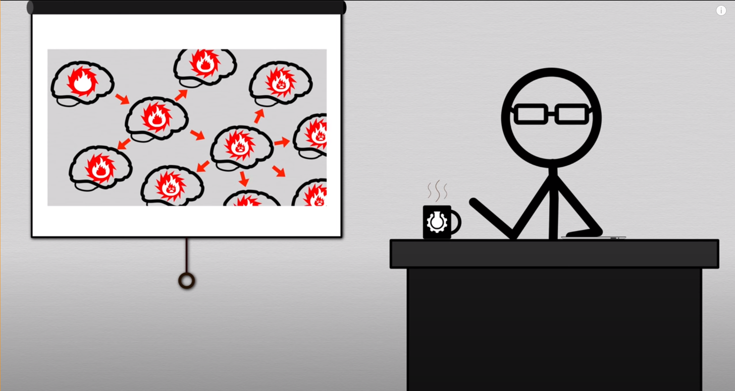 A screenshot from the video 'This video will make you angry' showing a stick man wearing glasses and drinking coffee, with a projector showing an image of a network of brains with angry red flames jumping between them