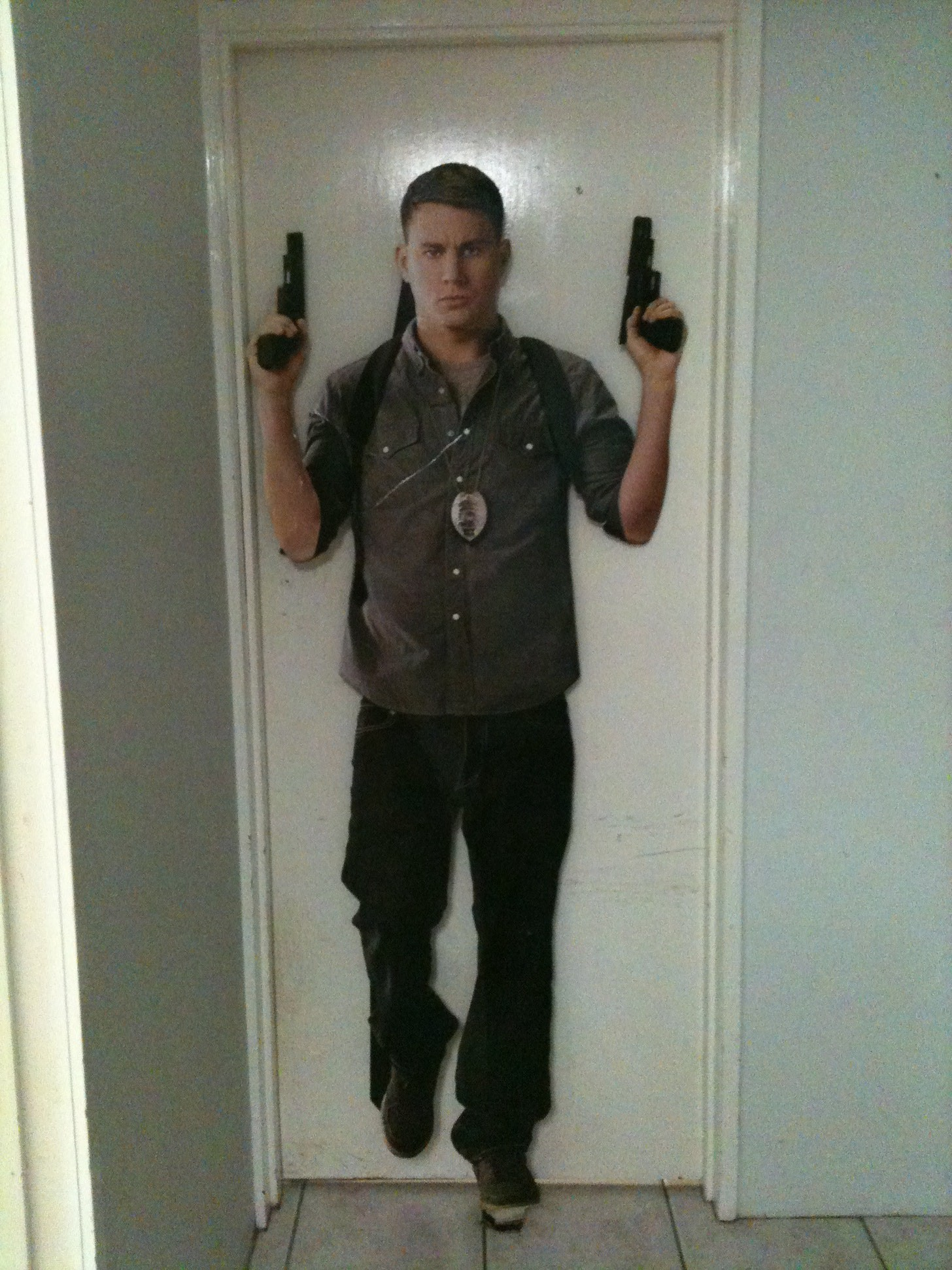 a cardboard cut out of Channing Tatum